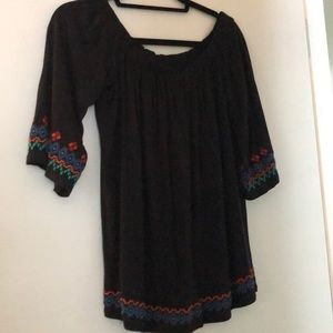 Off Shoulder Black Shirt with embroidery Detail